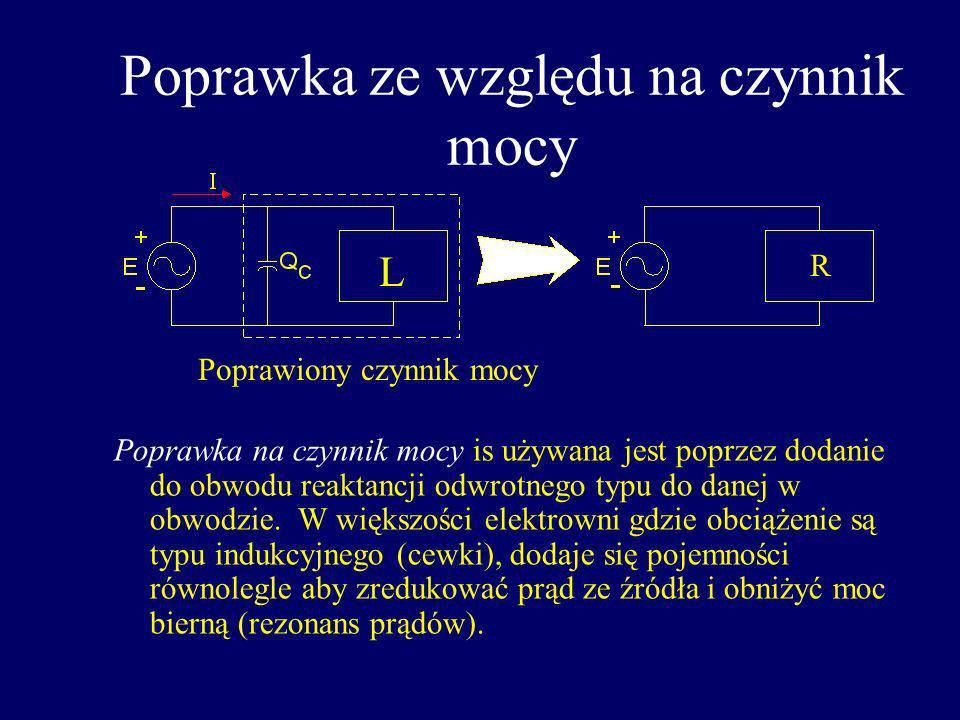 Poprawka ze względu na czynnik mocy Poprawka na czynnik mocy is używana jest poprzez dodanie do obwodu reaktancji odwrotnego typu do danej w obwodzie.