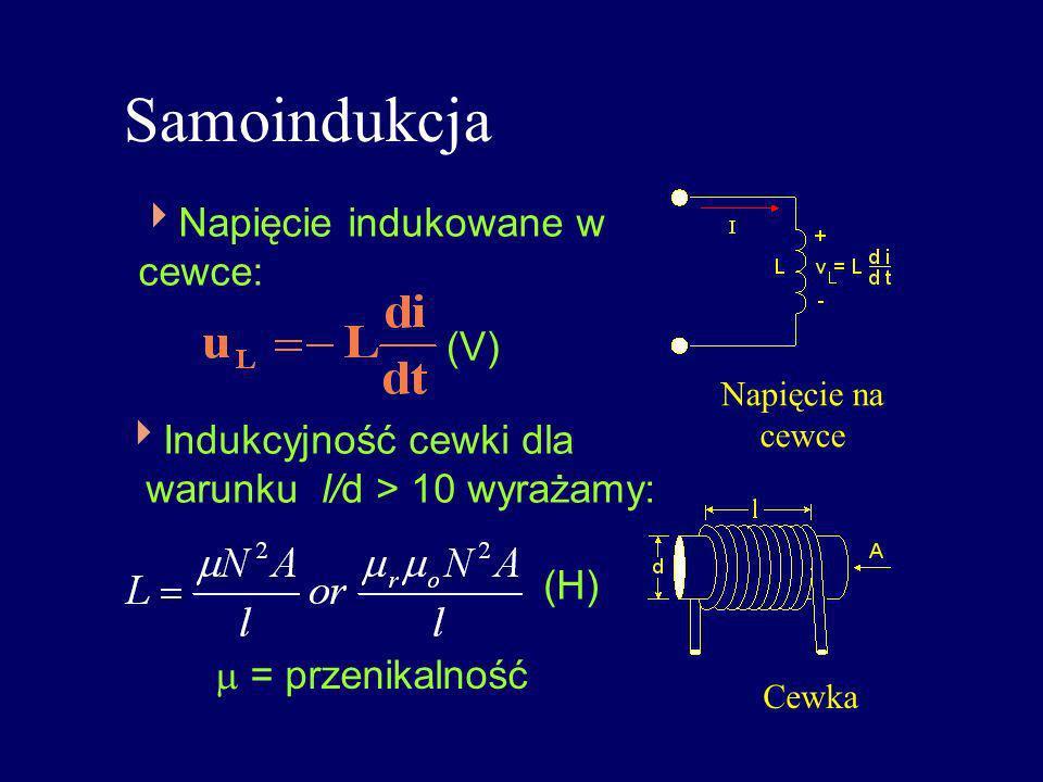 Samoindukcja Napięcie indukowane w cewce: (V) Indukcyjność cewki dla warunku l/d > 10 wyrażamy: = przenikalność (H) Napięcie na cewce Cewka