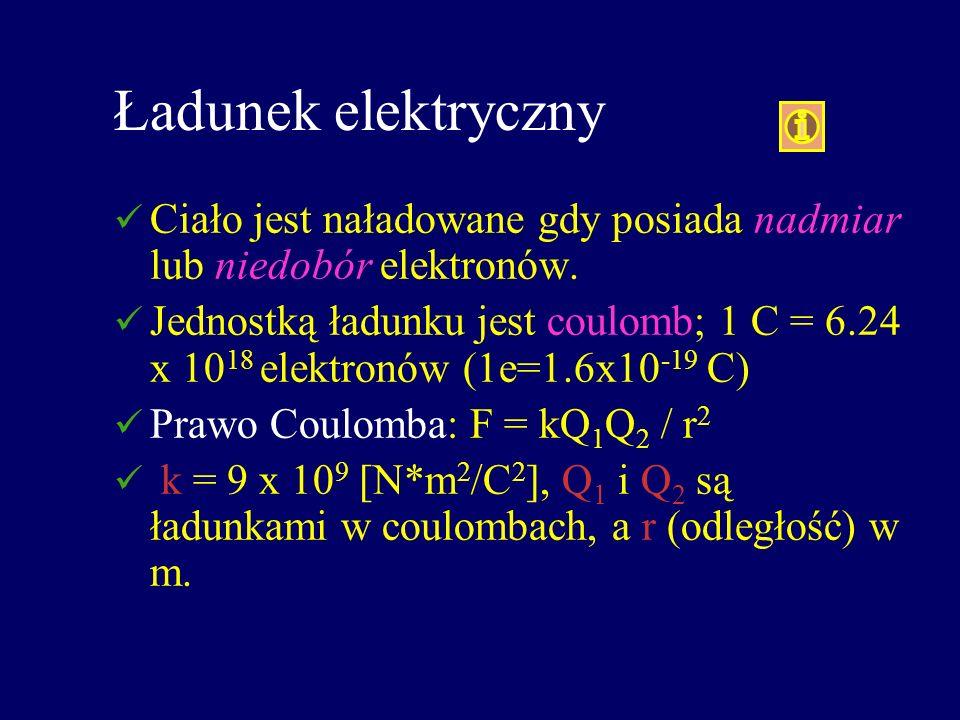 Ładunek elektryczny Ciało jest naładowane gdy posiada nadmiar lub niedobór elektronów. Jednostką ładunku jest coulomb; 1 C = 6.24 x 10 18 elektronów (
