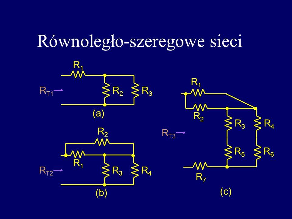 Równoległo-szeregowe sieci R T1 R1R1 R2R2 R3R3 R T2 R2R2 R3R3 R1R1 R4R4 R T3 R1R1 R2R2 R3R3 R4R4 R5R5 R6R6 R7R7 (a) (b) (c)