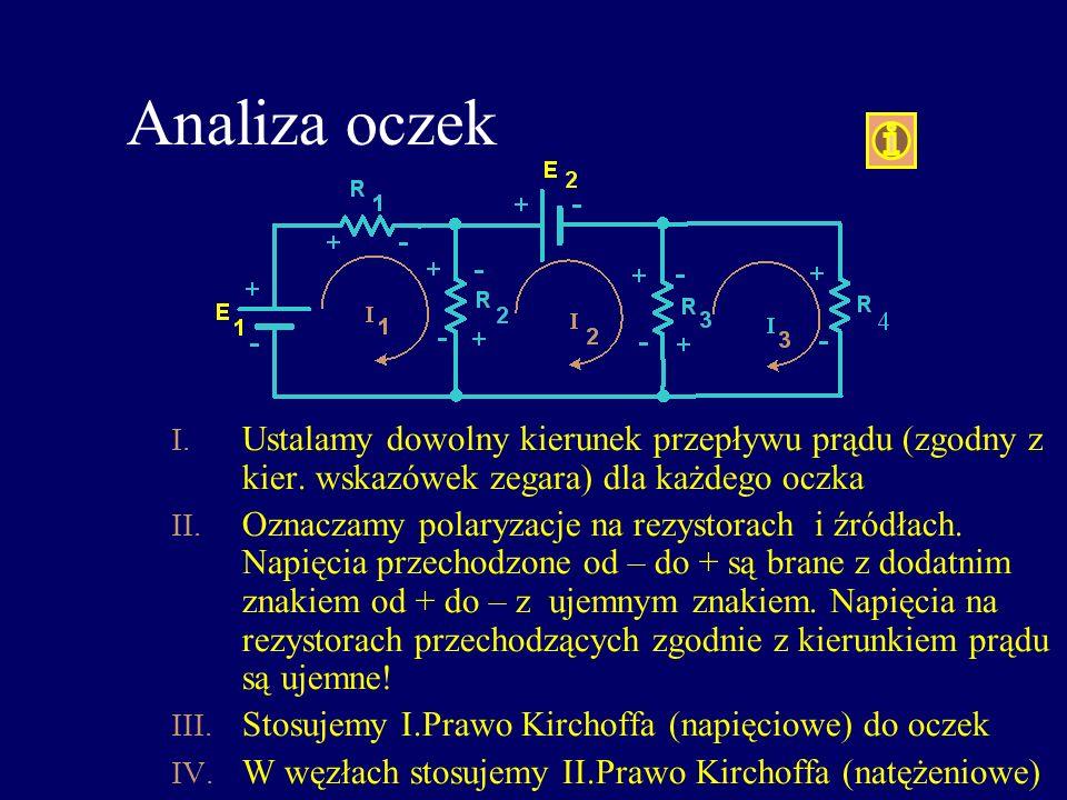 Analiza oczek I. Ustalamy dowolny kierunek przepływu prądu (zgodny z kier. wskazówek zegara) dla każdego oczka II. Oznaczamy polaryzacje na rezystorac