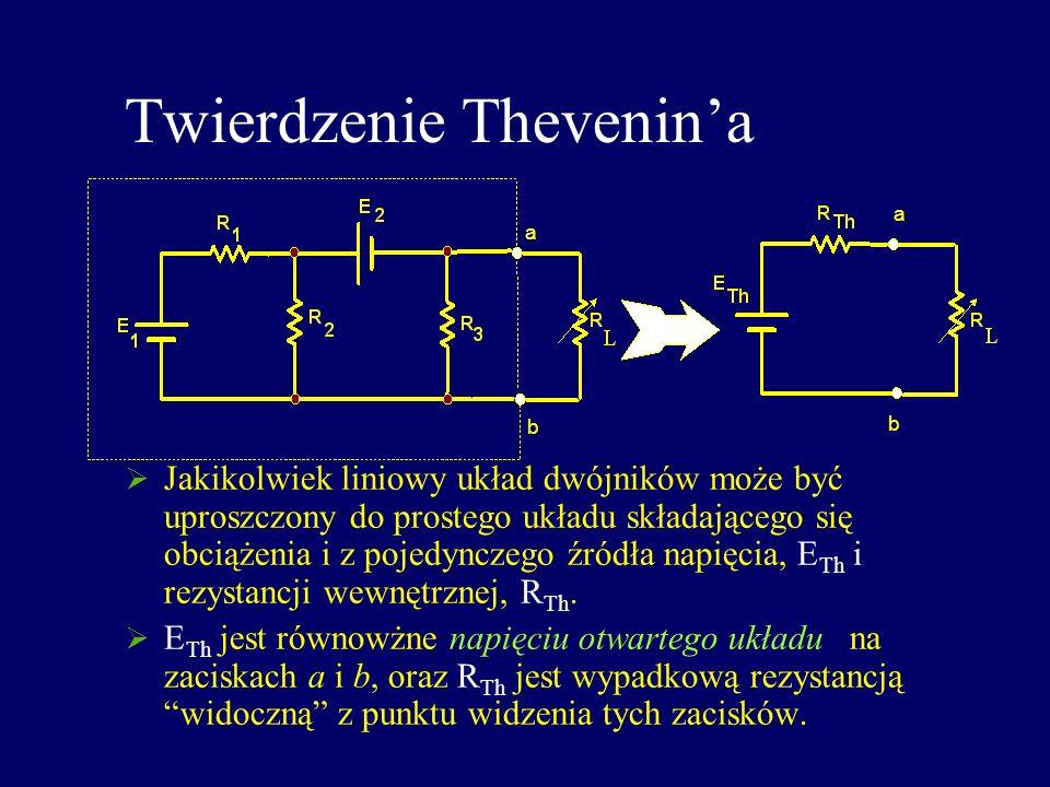 Twierdzenie Thevenina Jakikolwiek liniowy układ dwójników może być uproszczony do prostego układu składającego się obciążenia i z pojedynczego źródła