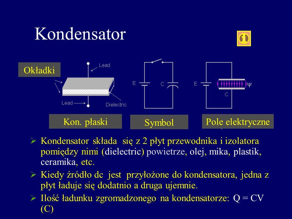 Kondensator Kondensator składa się z 2 płyt przewodnika i izolatora pomiędzy nimi (dielectric) powietrze, olej, mika, plastik, ceramika, etc. Kiedy źr