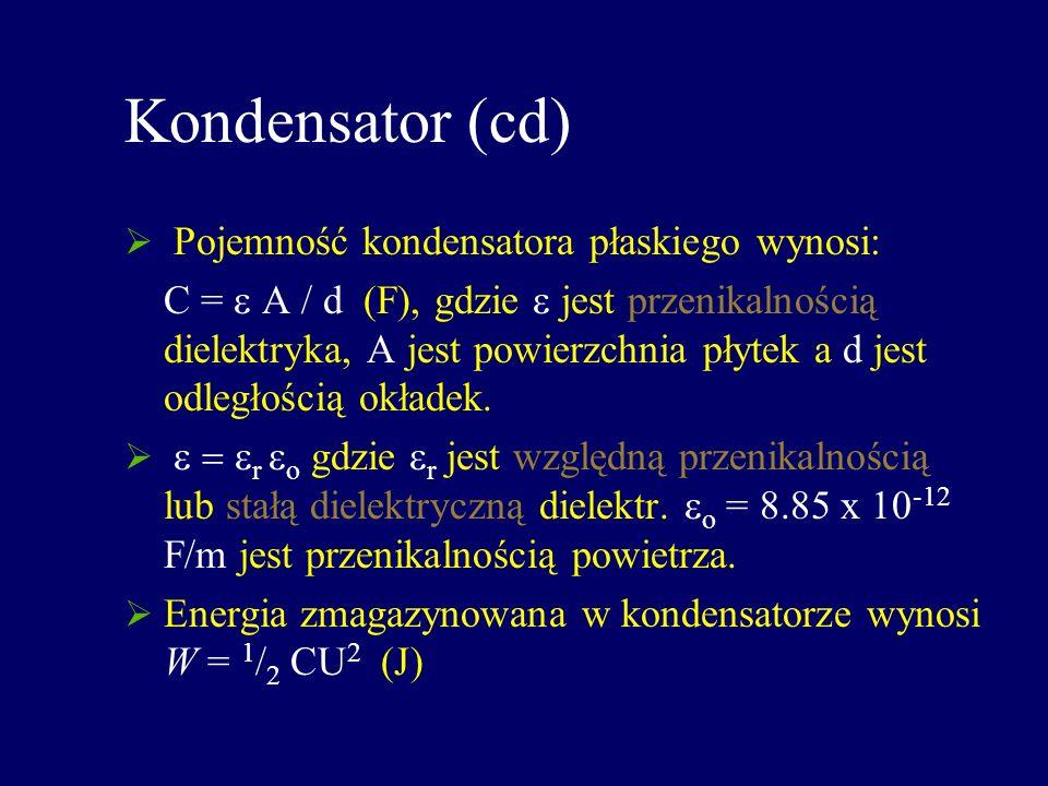Kondensator (cd) Pojemność kondensatora płaskiego wynosi: C = A / d (F), gdzie jest przenikalnością dielektryka, A jest powierzchnia płytek a d jest o