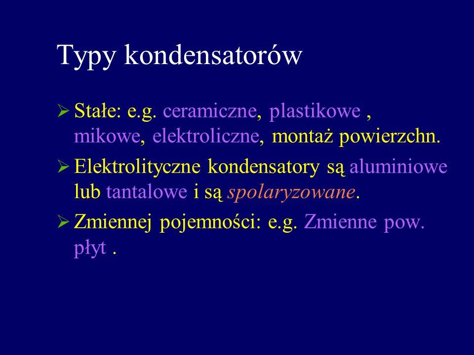 Typy kondensatorów Stałe: e.g. ceramiczne, plastikowe, mikowe, elektroliczne, montaż powierzchn. Elektrolityczne kondensatory są aluminiowe lub tantal