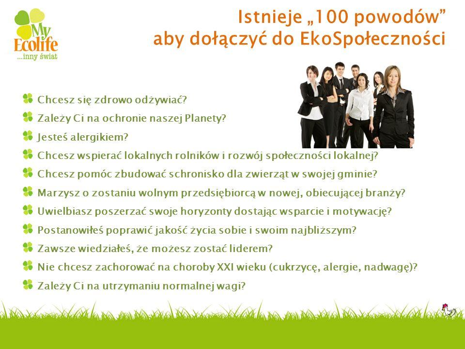 Istnieje 100 powodów aby dołączyć do EkoSpołeczności Chcesz się zdrowo odżywiać? Zależy Ci na ochronie naszej Planety? Jesteś alergikiem? Chcesz wspie