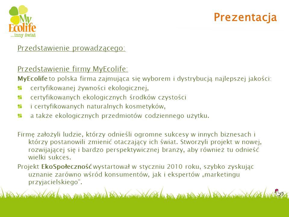 Przedstawienie prowadzącego: Przedstawienie firmy MyEcolife: MyEcolife to polska firma zajmująca się wyborem i dystrybucją najlepszej jakości: certyfi