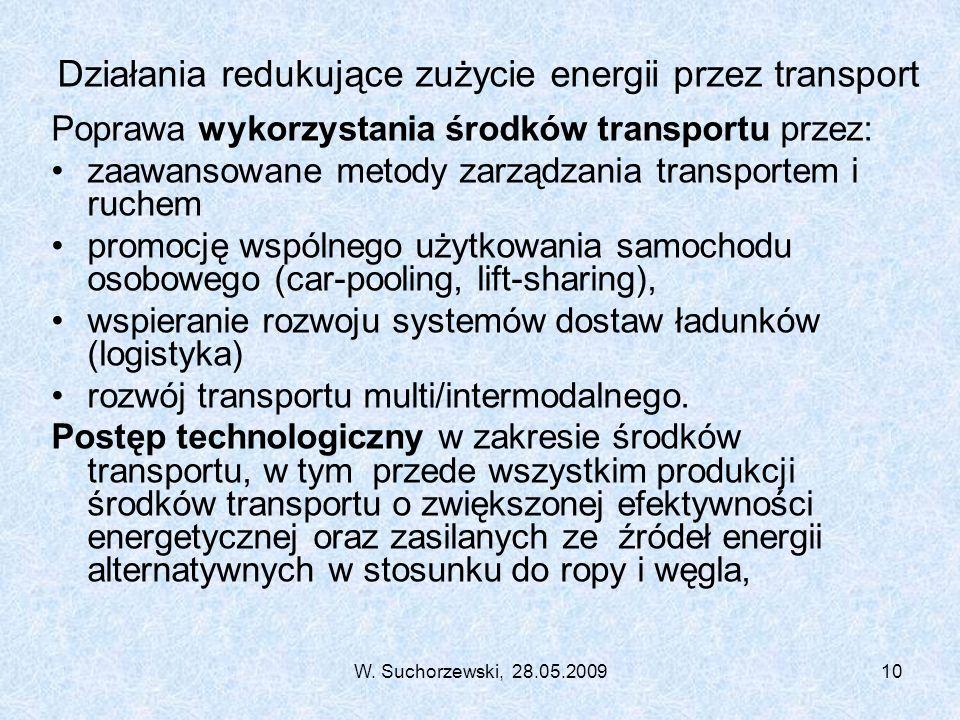W. Suchorzewski, 28.05.200910 Działania redukujące zużycie energii przez transport Poprawa wykorzystania środków transportu przez: zaawansowane metody