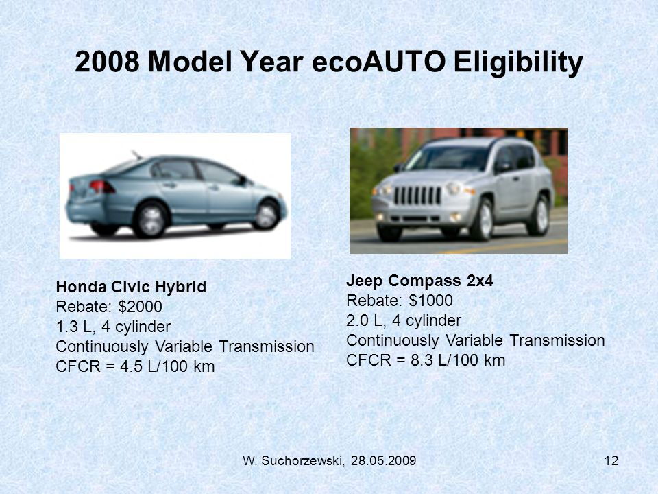 W. Suchorzewski, 28.05.200912 2008 Model Year ecoAUTO Eligibility Jeep Compass 2x4 Rebate: $1000 2.0 L, 4 cylinder Continuously Variable Transmission