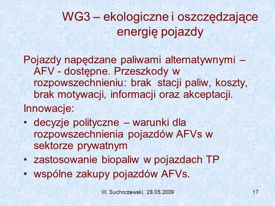 W. Suchorzewski, 28.05.200917 WG3 – ekologiczne i oszczędzające energię pojazdy Pojazdy napędzane paliwami alternatywnymi – AFV - dostępne. Przeszkody
