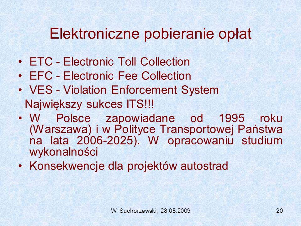 W. Suchorzewski, 28.05.200920 Elektroniczne pobieranie opłat ETC - Electronic Toll Collection EFC - Electronic Fee Collection VES - Violation Enforcem