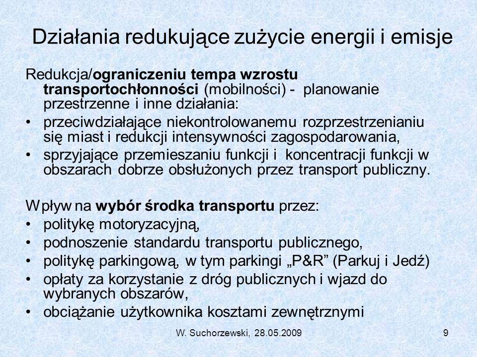 W. Suchorzewski, 28.05.20099 Działania redukujące zużycie energii i emisje Redukcja/ograniczeniu tempa wzrostu transportochłonności (mobilności) - pla