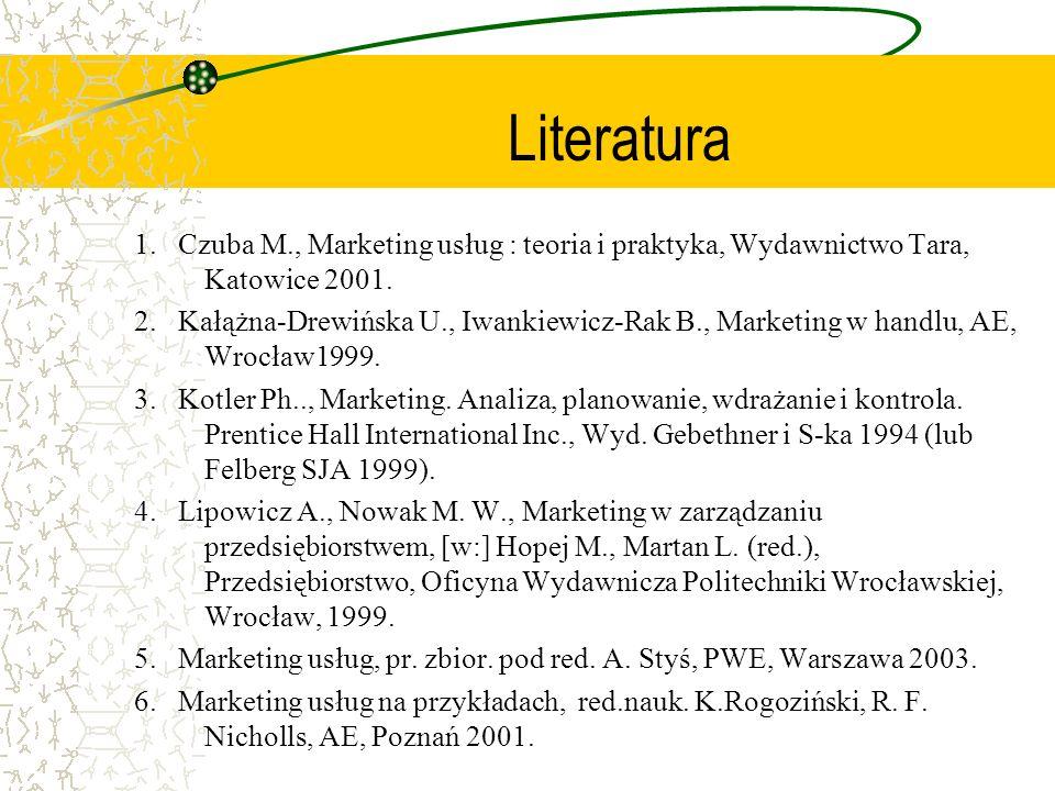Literatura 1. Czuba M., Marketing usług : teoria i praktyka, Wydawnictwo Tara, Katowice 2001. 2. Kałążna-Drewińska U., Iwankiewicz-Rak B., Marketing w