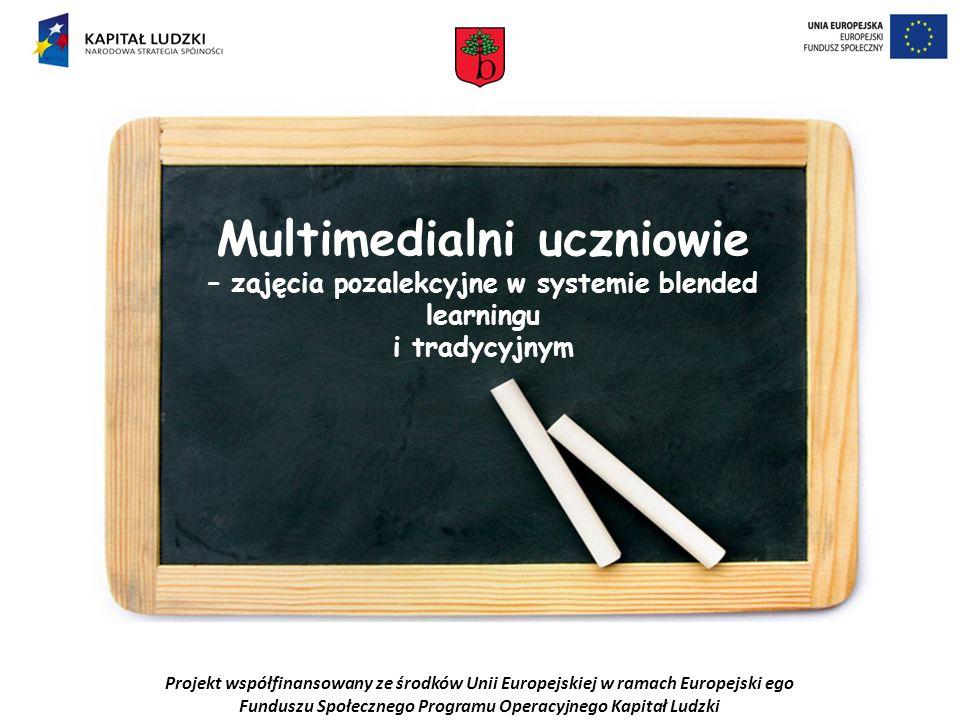 Projekt współfinansowany ze środków Unii Europejskiej w ramach Europejski ego Funduszu Społecznego Programu Operacyjnego Kapitał Ludzki Multimedialni uczniowie – zajęcia pozalekcyjne w systemie blended learningu i tradycyjnym