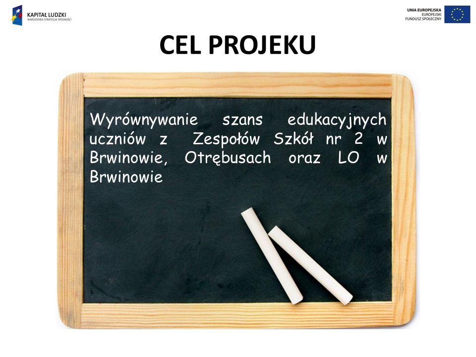 CEL PROJEKU Wyrównywanie szans edukacyjnych uczniów z Zespołów Szkół nr 2 w Brwinowie, Otrębusach oraz LO w Brwinowie
