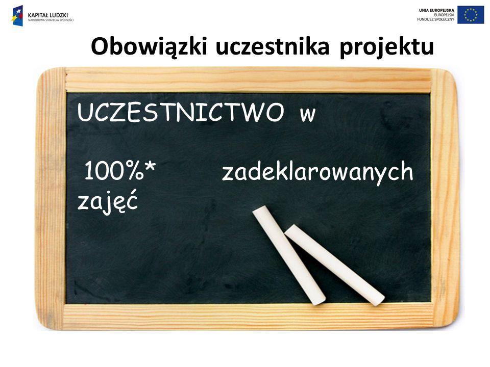 Obowiązki uczestnika projektu UCZESTNICTWO w 100%* zadeklarowanych zajęć