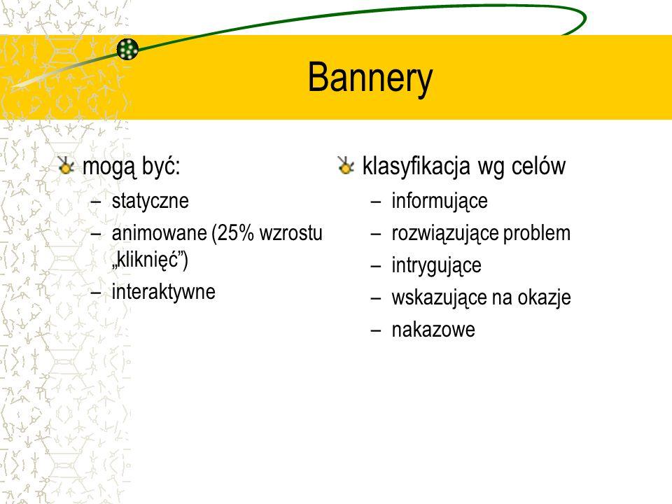 Bannery mogą być: –statyczne –animowane (25% wzrostu kliknięć) –interaktywne klasyfikacja wg celów –informujące –rozwiązujące problem –intrygujące –ws