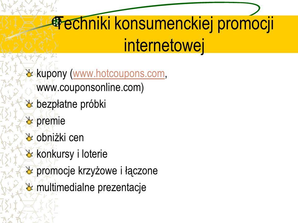 Techniki konsumenckiej promocji internetowej kupony (www.hotcoupons.com, www.couponsonline.com)www.hotcoupons.com bezpłatne próbki premie obniżki cen