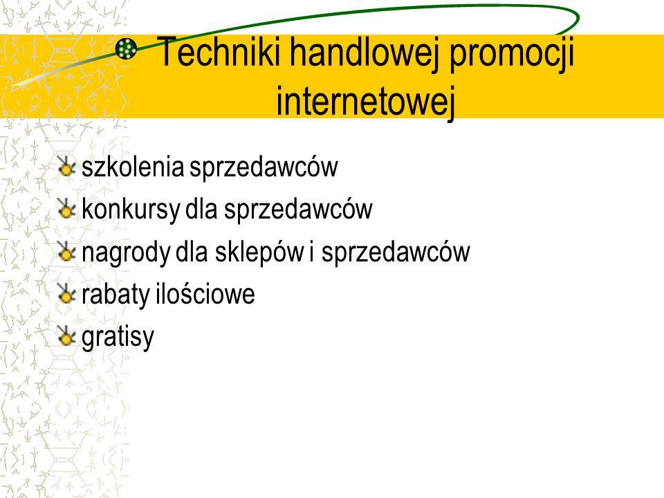 Techniki handlowej promocji internetowej szkolenia sprzedawców konkursy dla sprzedawców nagrody dla sklepów i sprzedawców rabaty ilościowe gratisy