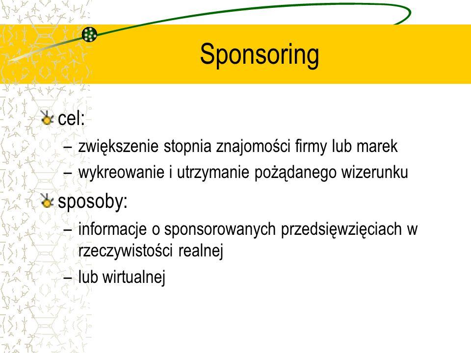 cel: –zwiększenie stopnia znajomości firmy lub marek –wykreowanie i utrzymanie pożądanego wizerunku sposoby: –informacje o sponsorowanych przedsięwzię