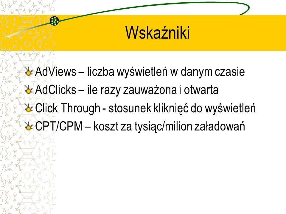 Wskaźniki AdViews – liczba wyświetleń w danym czasie AdClicks – ile razy zauważona i otwarta Click Through - stosunek kliknięć do wyświetleń CPT/CPM –