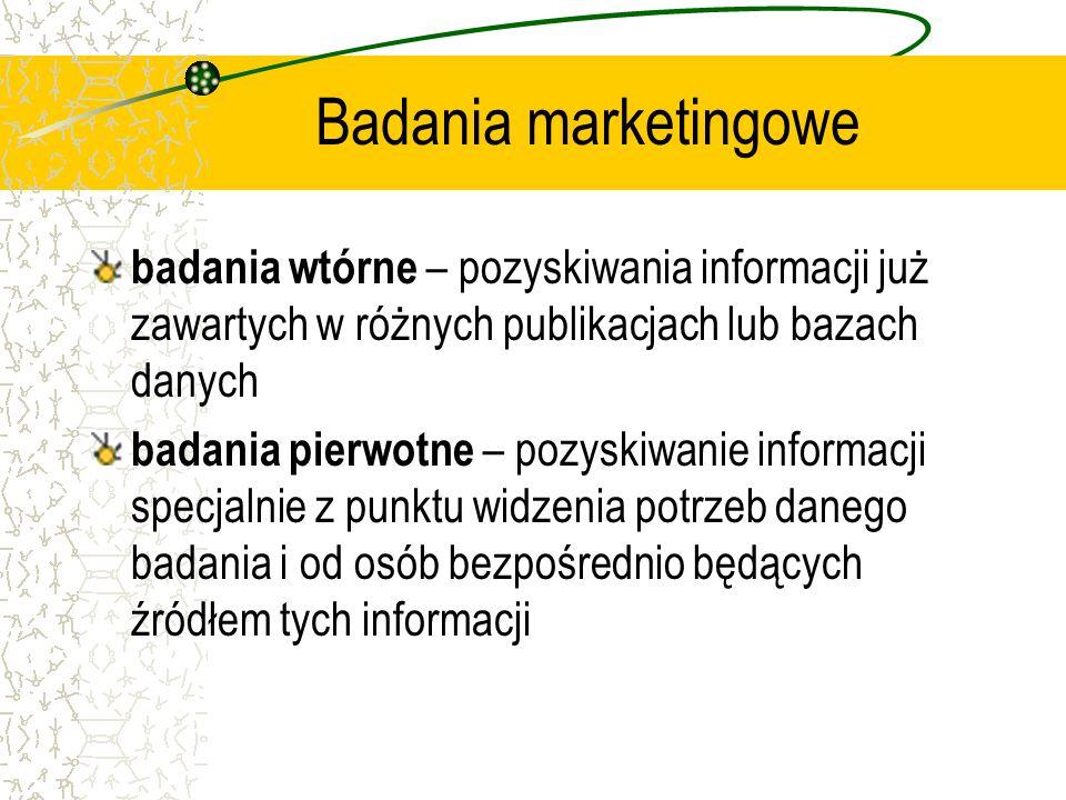 Badania marketingowe badania wtórne – pozyskiwania informacji już zawartych w różnych publikacjach lub bazach danych badania pierwotne – pozyskiwanie