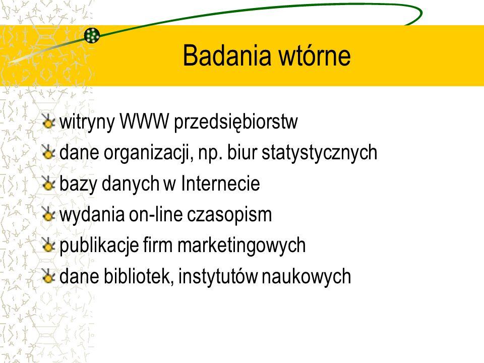 Badania wtórne witryny WWW przedsiębiorstw dane organizacji, np. biur statystycznych bazy danych w Internecie wydania on-line czasopism publikacje fir