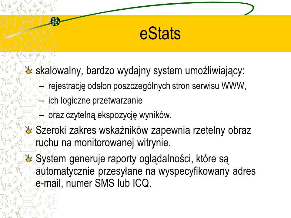 eStats skalowalny, bardzo wydajny system umożliwiający: –rejestrację odsłon poszczególnych stron serwisu WWW, –ich logiczne przetwarzanie –oraz czytel