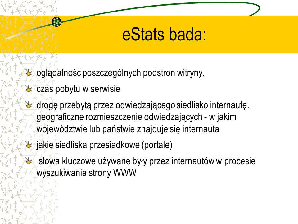 eStats bada: oglądalność poszczególnych podstron witryny, czas pobytu w serwisie drogę przebytą przez odwiedzającego siedlisko internautę. geograficzn