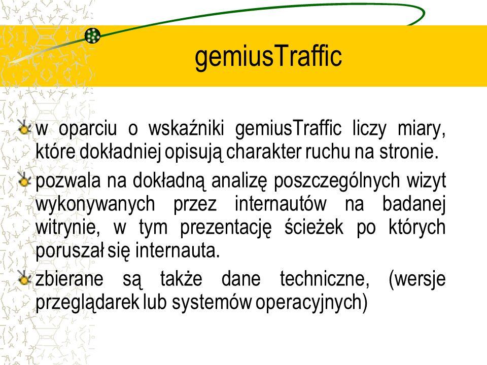 gemiusTraffic w oparciu o wskaźniki gemiusTraffic liczy miary, które dokładniej opisują charakter ruchu na stronie. pozwala na dokładną analizę poszcz