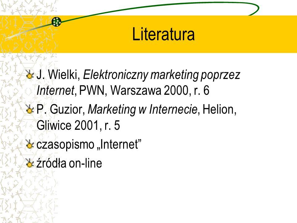 Literatura J. Wielki, Elektroniczny marketing poprzez Internet, PWN, Warszawa 2000, r. 6 P. Guzior, Marketing w Internecie, Helion, Gliwice 2001, r. 5