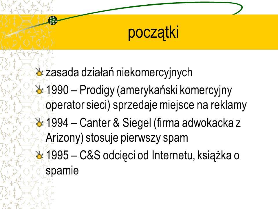 początki zasada działań niekomercyjnych 1990 – Prodigy (amerykański komercyjny operator sieci) sprzedaje miejsce na reklamy 1994 – Canter & Siegel (fi