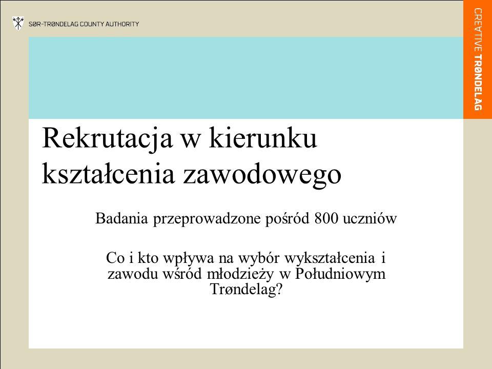 Projekt współpracy między Norwegią a Polską Jedno z zadań projektu: Analiza zainteresowania kształceniem zawodowym wśród młodzieży w Polsce i Norwegii, a zwłaszcza analiza wpływu różnych form doradzania przed wyborem kierunku wykształcenia