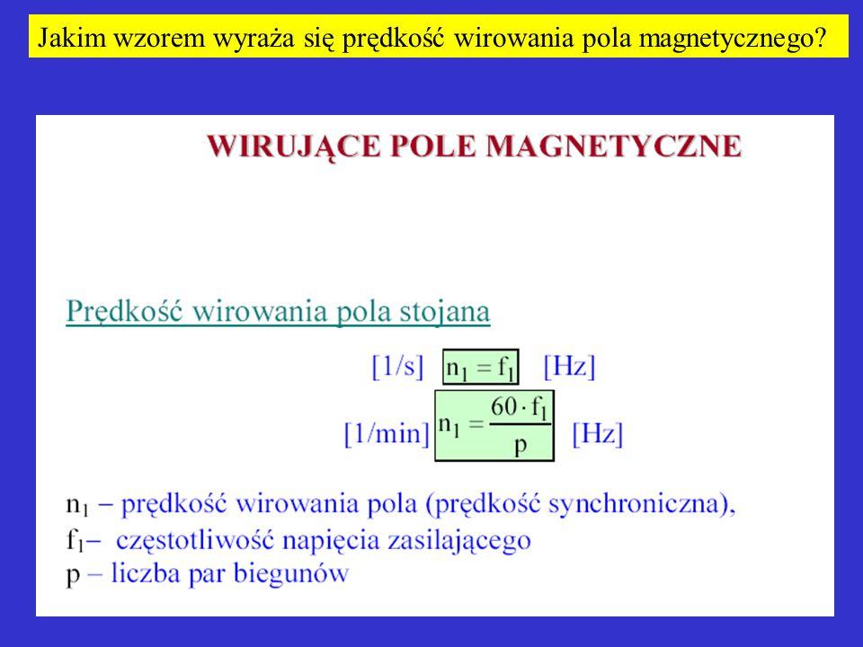 Jakim wzorem wyraża się prędkość wirowania pola magnetycznego?