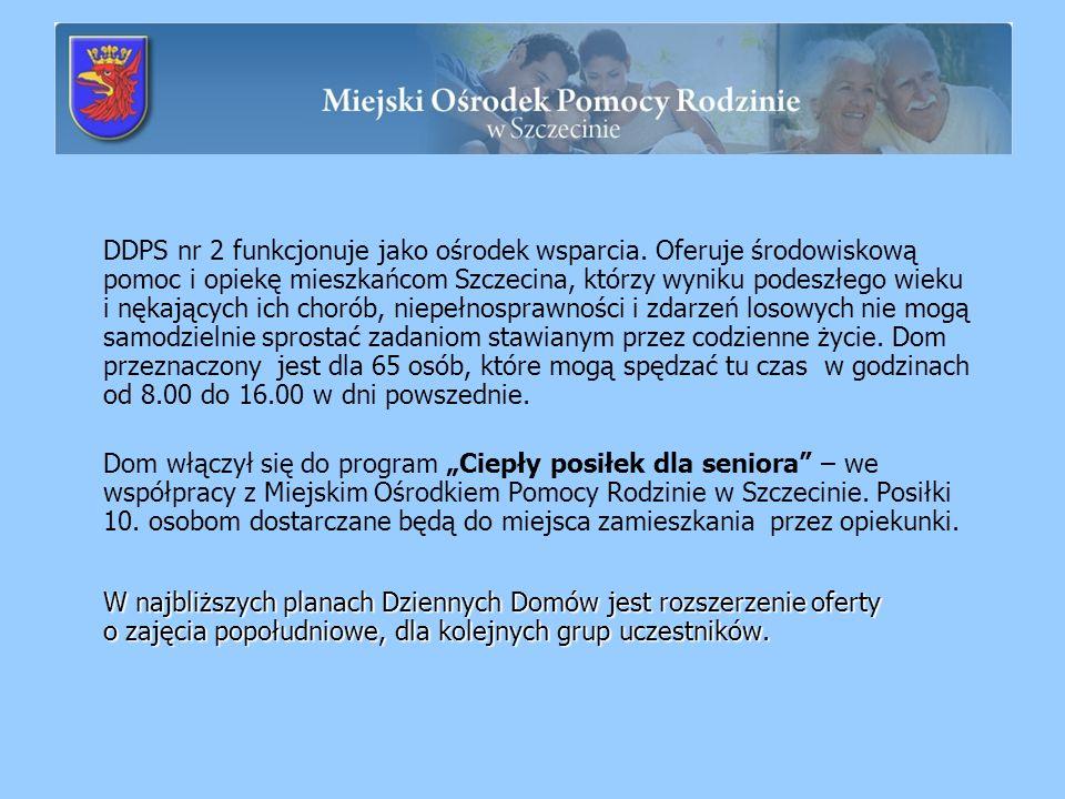 DDPS nr 2 funkcjonuje jako ośrodek wsparcia. Oferuje środowiskową pomoc i opiekę mieszkańcom Szczecina, którzy wyniku podeszłego wieku i nękających ic