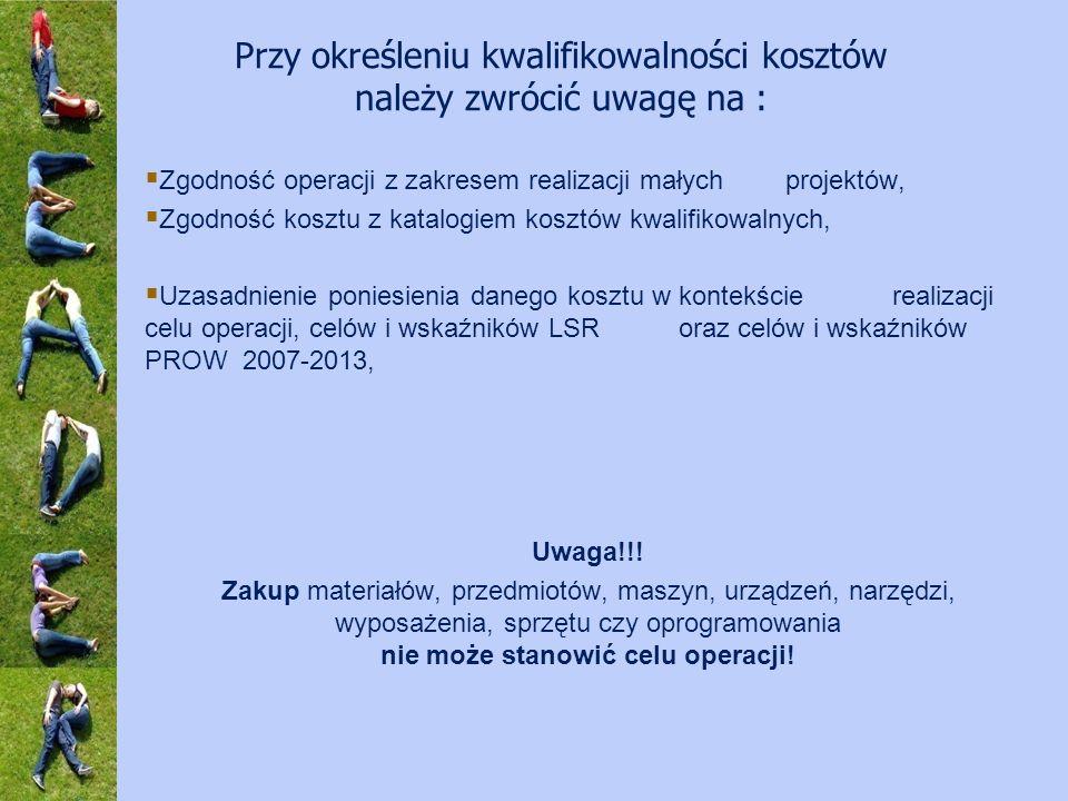 Zgodność operacji z zakresem realizacji małych projektów, Zgodność kosztu z katalogiem kosztów kwalifikowalnych, Uzasadnienie poniesienia danego kosztu w kontekścierealizacji celu operacji, celów i wskaźników LSR oraz celów i wskaźników PROW 2007-2013, Uwaga!!.