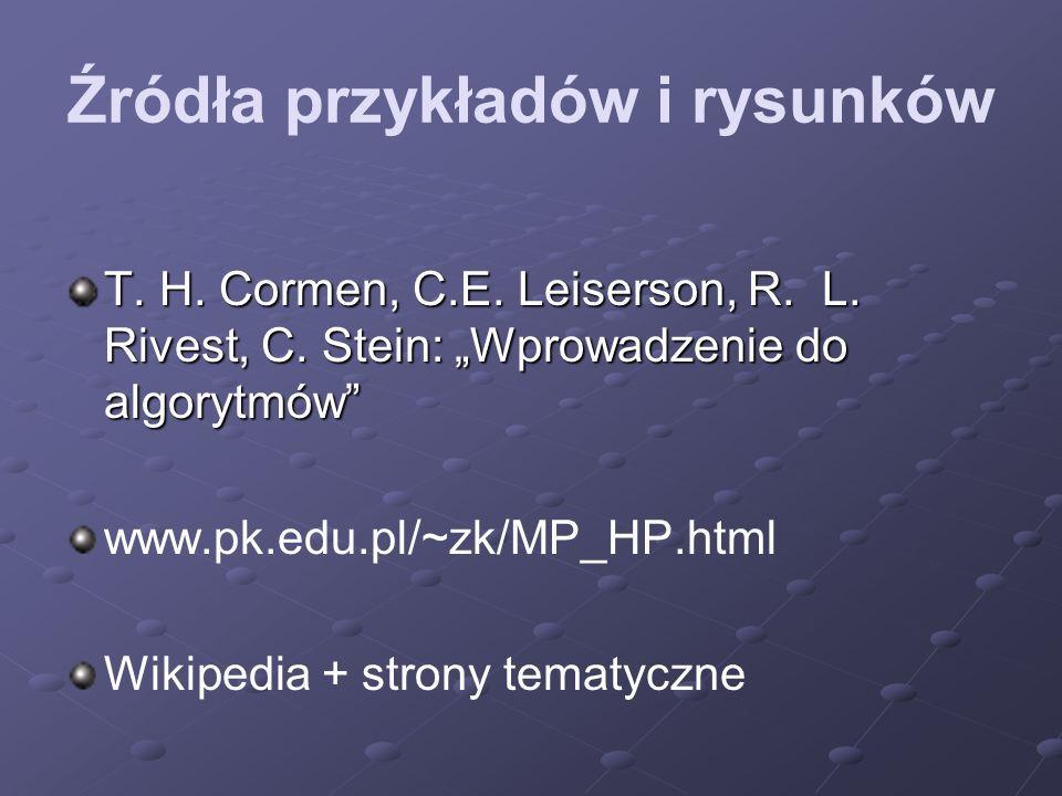 Źródła przykładów i rysunków T. H. Cormen, C.E. Leiserson, R. L. Rivest, C. Stein: Wprowadzenie do algorytmów www.pk.edu.pl/~zk/MP_HP.html Wikipedia +