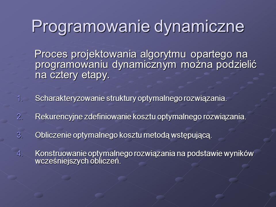 Programowanie dynamiczne Proces projektowania algorytmu opartego na programowaniu dynamicznym można podzielić na cztery etapy. Proces projektowania al