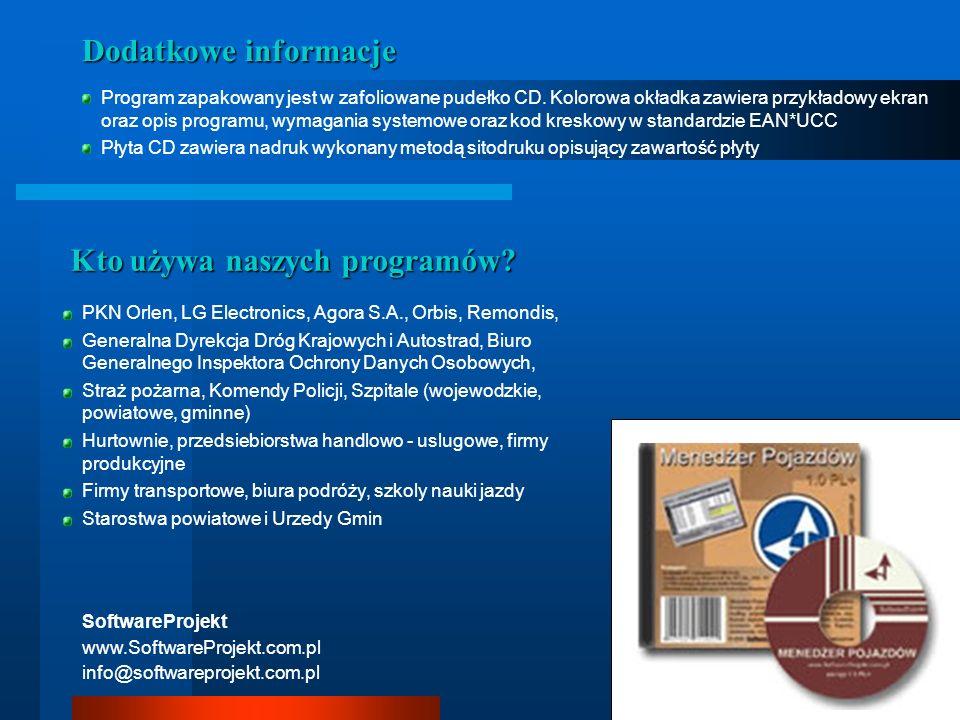 Dodatkowe informacje Program zapakowany jest w zafoliowane pudełko CD. Kolorowa okładka zawiera przykładowy ekran oraz opis programu, wymagania system
