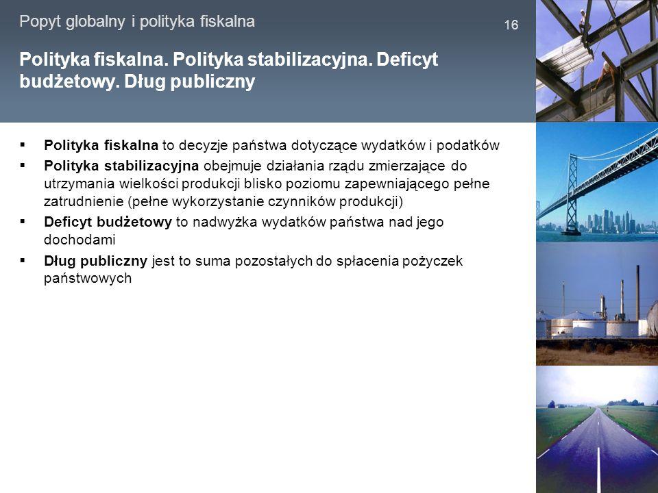 Popyt globalny i polityka fiskalna 16 Polityka fiskalna. Polityka stabilizacyjna. Deficyt budżetowy. Dług publiczny Polityka fiskalna to decyzje państ