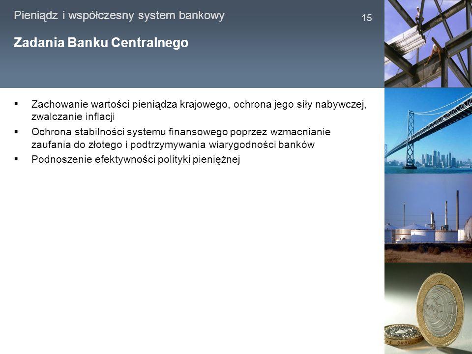 Pieniądz i współczesny system bankowy 15 Zadania Banku Centralnego Zachowanie wartości pieniądza krajowego, ochrona jego siły nabywczej, zwalczanie in