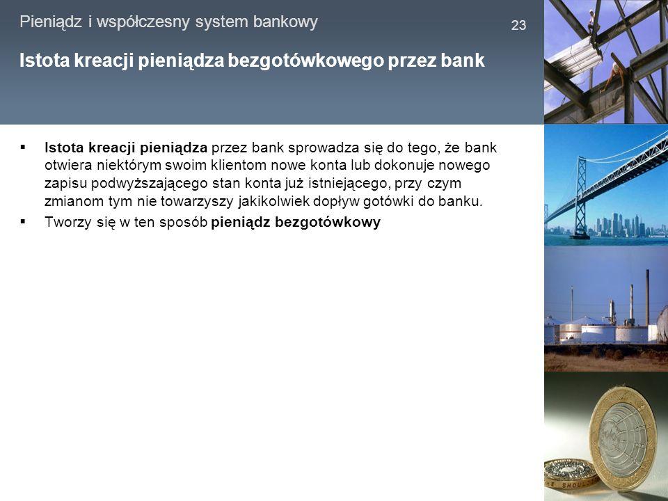Pieniądz i współczesny system bankowy 23 Istota kreacji pieniądza bezgotówkowego przez bank Istota kreacji pieniądza przez bank sprowadza się do tego,