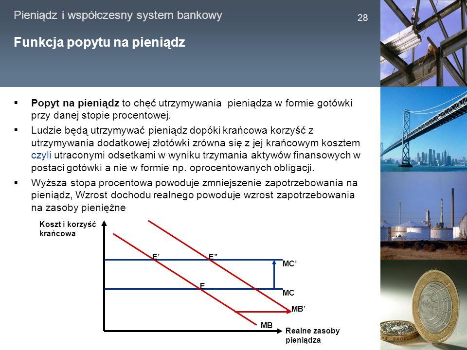 Pieniądz i współczesny system bankowy 28 Funkcja popytu na pieniądz Popyt na pieniądz to chęć utrzymywania pieniądza w formie gotówki przy danej stopi