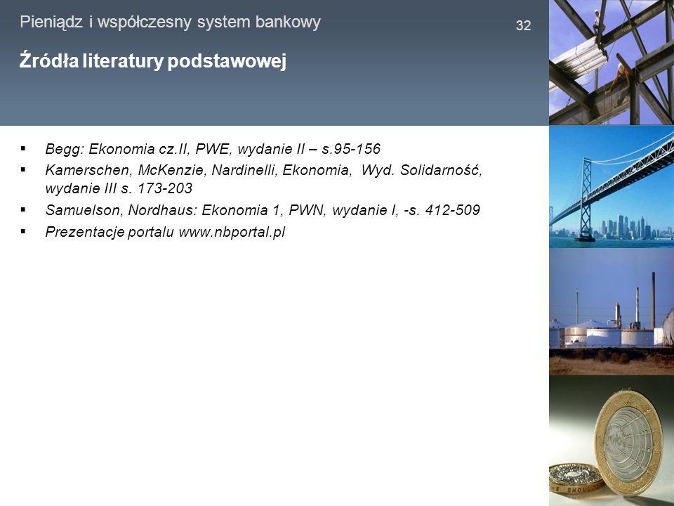 Pieniądz i współczesny system bankowy 32 Źródła literatury podstawowej Begg: Ekonomia cz.II, PWE, wydanie II – s.95-156 Kamerschen, McKenzie, Nardinel