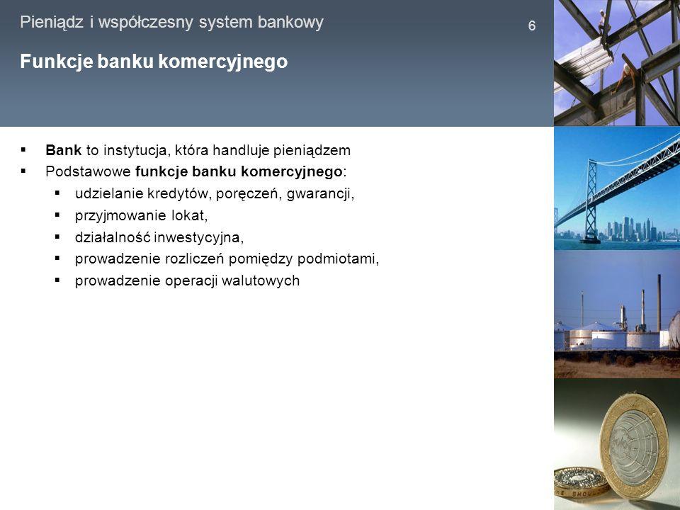 Pieniądz i współczesny system bankowy 6 Funkcje banku komercyjnego Bank to instytucja, która handluje pieniądzem Podstawowe funkcje banku komercyjnego