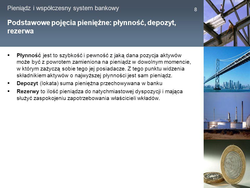 Pieniądz i współczesny system bankowy 8 Podstawowe pojęcia pieniężne: płynność, depozyt, rezerwa Płynność jest to szybkość i pewność z jaką dana pozyc