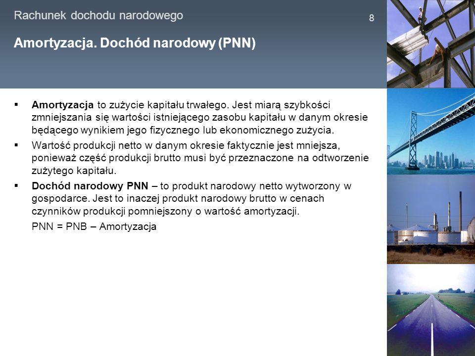 Rachunek dochodu narodowego 9 Realny i nominalny PNB PNB realny to PNB w cenach stałych czyli występujących w pewnym okresie uznany za bazowy.