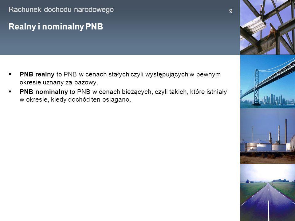 Rachunek dochodu narodowego 9 Realny i nominalny PNB PNB realny to PNB w cenach stałych czyli występujących w pewnym okresie uznany za bazowy. PNB nom