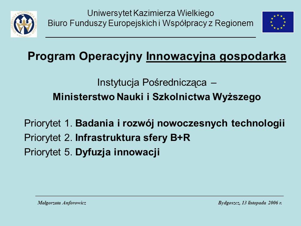 Uniwersytet Kazimierza Wielkiego Biuro Funduszy Europejskich i Współpracy z Regionem _____________________________________________ Program Operacyjny Innowacyjna gospodarka Instytucja Pośrednicząca – Ministerstwo Nauki i Szkolnictwa Wyższego Priorytet 1.