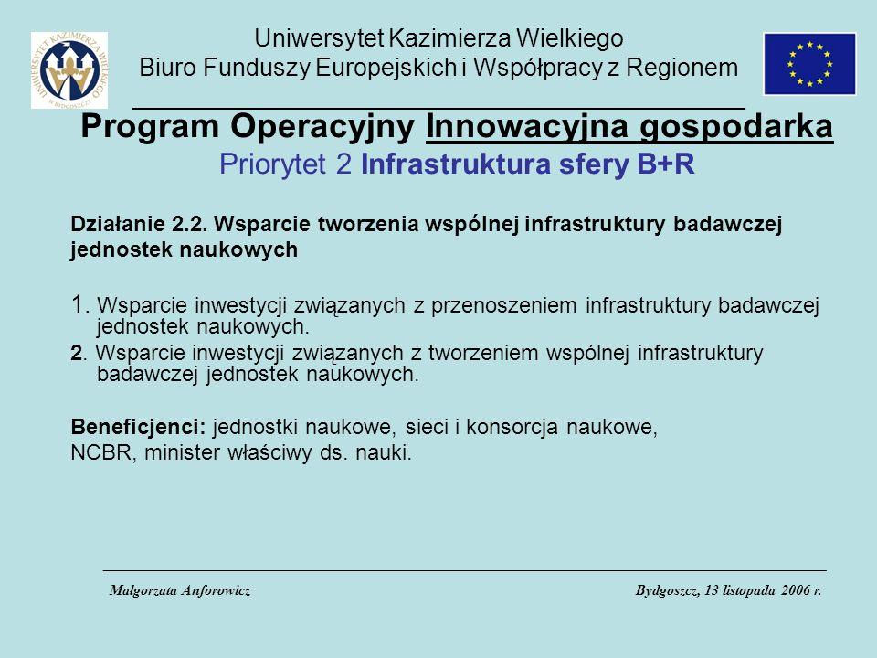 Uniwersytet Kazimierza Wielkiego Biuro Funduszy Europejskich i Współpracy z Regionem _____________________________________________ Program Operacyjny Innowacyjna gospodarka Priorytet 2 Infrastruktura sfery B+R Działanie 2.2.